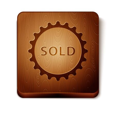 Brown Sold label icon isolated on white background. Wooden square button. Vector Illustration Vettoriali