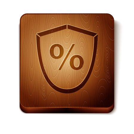 Brown Loan percent icon isolated on white background. Protection shield sign. Credit percentage symbol. Wooden square button. Vector Illustration