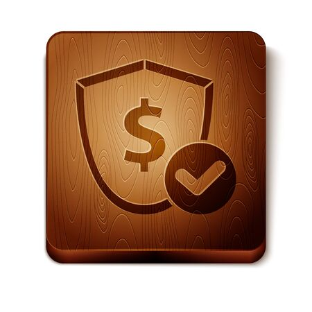 Brown Shield with dollar symbol icon isolated on white background. Security shield protection. Money security concept. Wooden square button. Vector Illustration