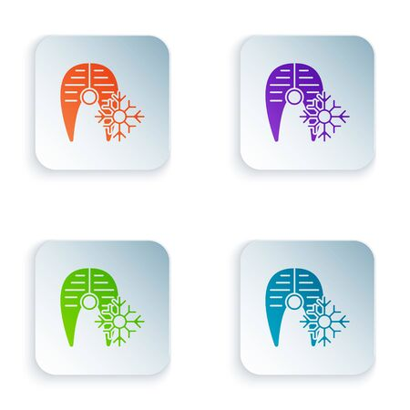 Color Fresh frozen fish steak icon isolated on white background. Set icons in square buttons. Vector Illustration