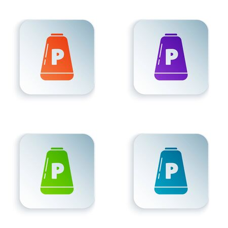 Color Pepper icon isolated on white background. Cooking spices. Set icons in square buttons. Vector Illustration