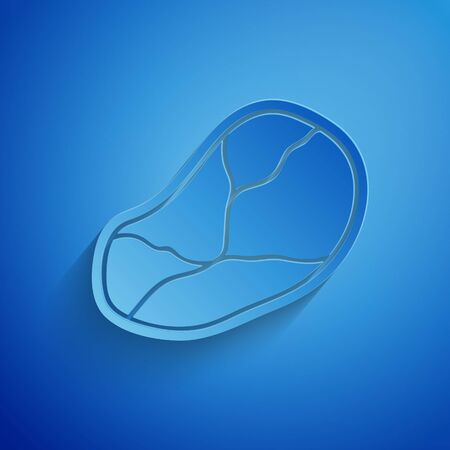 Paper cut Steak meat icon isolated on blue background. Paper art style. Vector Illustration