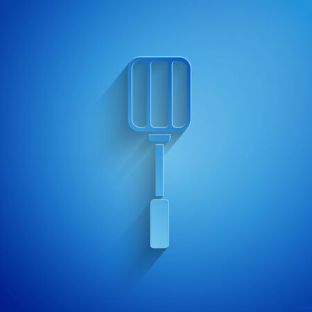 Paper cut Spatula icon isolated on blue background. Kitchen spatula icon. BBQ spatula sign. Barbecue and grill tool. Paper art style. Vector Illustration Vettoriali