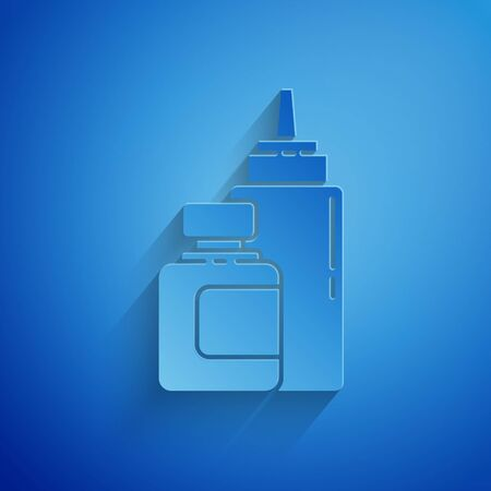 Paper cut Sauce bottle icon isolated on blue background. Ketchup, mustard and mayonnaise bottles with sauce for fast food. Paper art style. Vector Illustration