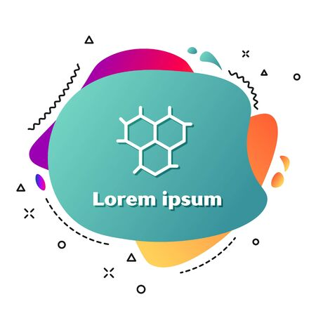 White Chemical formula icon isolated on white background. Abstract hexagon for innovation medicine, health, research and science. Abstract banner with liquid shapes. Vector Illustration