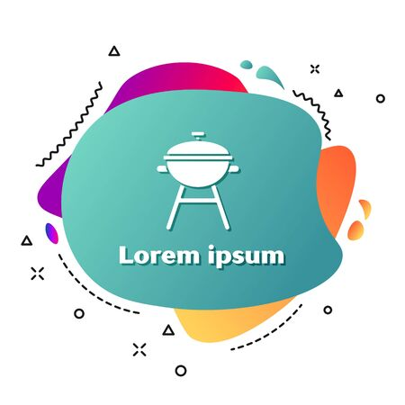 White Barbecue grill icon isolated on white background. BBQ grill party. Abstract banner with liquid shapes. Vector Illustration Ilustração
