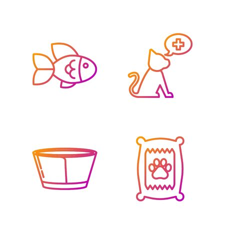 Set line Bag of food for dog, Protective cone collar, Fish and Veterinary clinic symbol. Gradient color icons. Vector