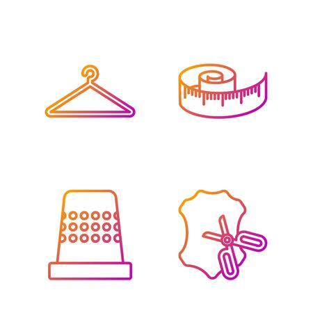 Set line Scissors and leather, Thimble for sewing, Hanger wardrobe and Tape measure. Gradient color icons. Vector Illustration
