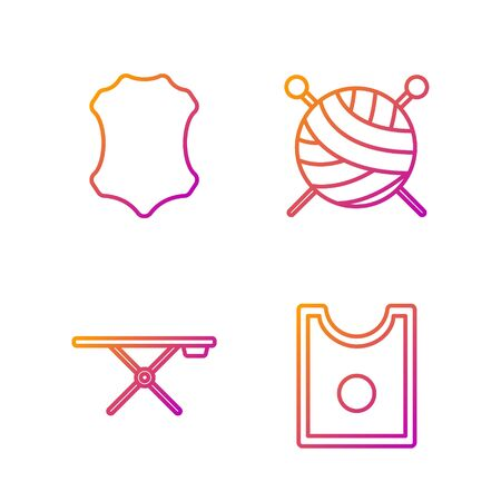 Set line Sewing Pattern, Ironing board, Leather and Yarn ball with knitting needles. Gradient color icons. Vector