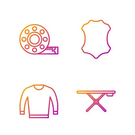 Set line Ironing board, Sweater, Tape measure and Leather. Gradient color icons. Vector