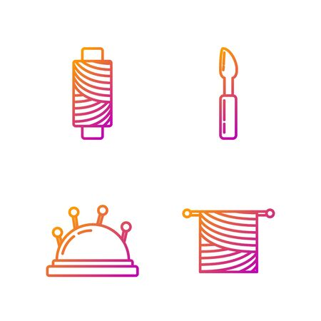 Set line Knitting, Needle bed and needles, Sewing thread on spool and Cutter tool. Gradient color icons. Vector 矢量图像