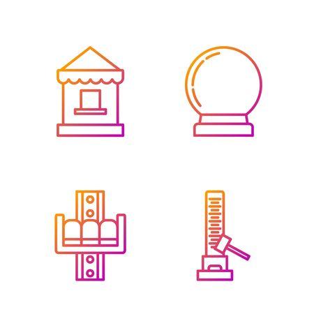 Línea fija Atracción de alto delantero con gran martillo, carrusel de atracción, taquilla y bola mágica. Iconos de colores degradados. Vector