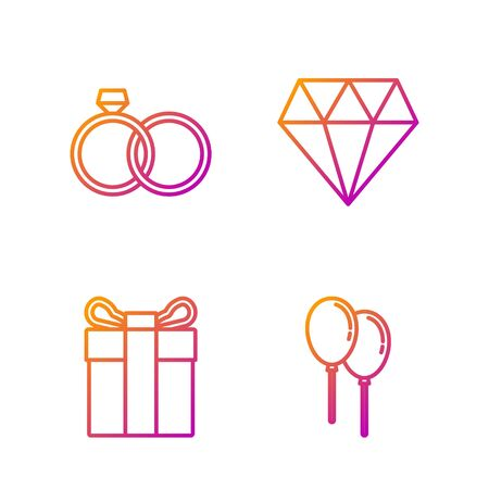 Set line Balloons with ribbon, Gift box, Wedding rings and Diamond. Gradient color icons. Vector