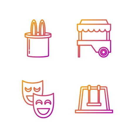 Set line Swing, Comedy theatrical masks, Magician hat and rabbit ears and Fast street food cart with awning. Gradient color icons. Vector 矢量图像