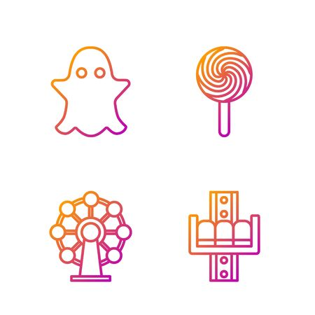 Set line Attraction carousel, Ferris wheel, Ghost and Lollipop. Gradient color icons. Vector