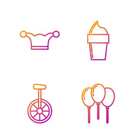 Set line Balloons with ribbon, Unicycle or one wheel bicycle, Jester hat with bells and Ice cream in waffle cone. Gradient color icons. Vector