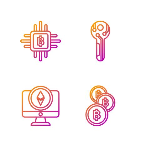 Set line Cryptocurrency coin Bitcoin, Monitor and Cryptocurrency coin Ethereum ETH, CPU mining farm and Cryptocurrency key. Gradient color icons. Vector