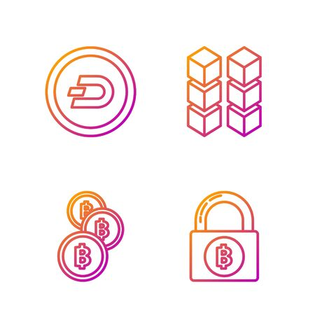 Set line Lock with bitcoin, Cryptocurrency coin Bitcoin, Cryptocurrency coin Dash and Blockchain technology. Gradient color icons. Vector
