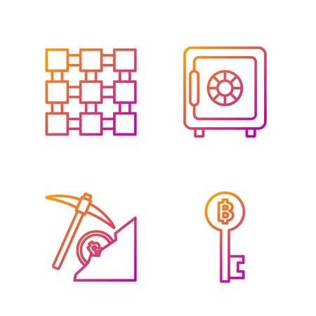 Set line Cryptocurrency Bitcoin key, Cryptocurrency cloud mining, Blockchain technology and Safe. Gradient color icons. Vector