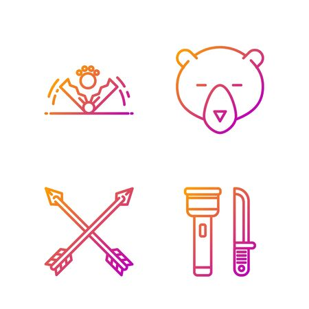 Set line Flashlight and knife, Crossed arrows, Trap hunting and Bear head. Gradient color icons. Vector Illustration