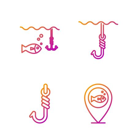 Set line Location fishing, Fishing hook, Fishing hook under water with fish and Fishing hook under water. Gradient color icons. Vector