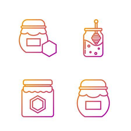 Set line Jar of honey, Jar of honey and Jar of honey and honey dipper stick. Gradient color icons. Vector