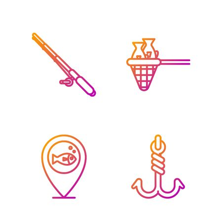 Set line Fishing hook, Location fishing, Fishing rod and Fishing net with fish. Gradient color icons. Vector