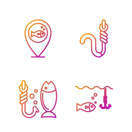 Set line Fishing hook under water with fish, Fishing, Location fishing and Fishing hook and worm. Gradient color icons. Vector