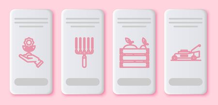 Set line Hand holding flower, Garden rake in work, Wooden box for fruits and vegetables and Lawn mower. White rectangle button. Vector