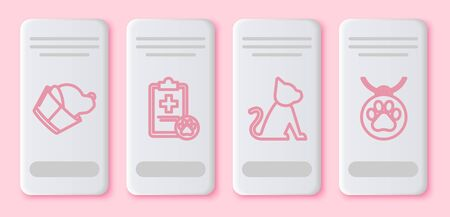 Set line Veterinary clinic symbol, Clipboard with medical clinical record pet, Cat and Collar with name tag. White rectangle button. Vector