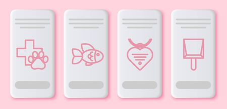 Set line Veterinary clinic symbol, Fish, Collar with name tag and heart and Dustpan. White rectangle button. Vector