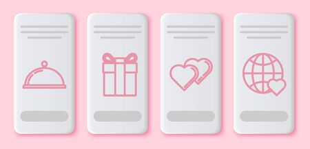 Set line Covered with a tray of food, Gift box, Two Linked Hearts and The heart world love. White rectangle button. Vector