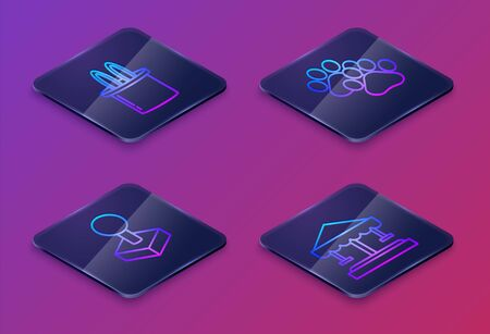 Set Isometric line Magician hat and rabbit ears, Joystick for arcade machine, Paw print and Attraction carousel. Blue square button. Vector