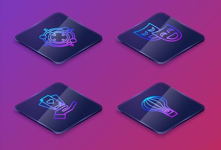 Set Isometric line Target sport for shooting competition, Hand holding playing cards, Comedy theatrical masks and Hot air balloon. Blue square button. Vector