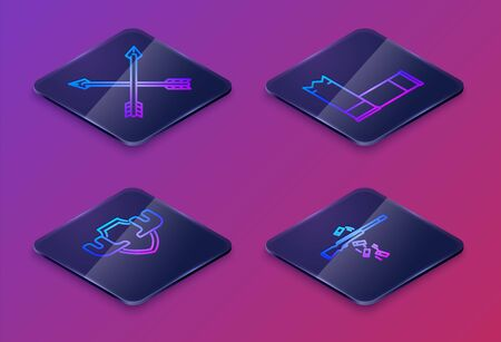 Set Isometric line Crossed arrows, Moose horns on shield, Cartridges and Gun shooting. Blue square button. Vector