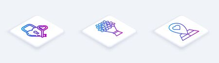 Set Isometric line Castle in the shape of a heart and key, Bouquet of flowers and Map pointer with heart. White square button. Vector Illustration