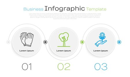 Set line Garden gloves, Tree and Hand holding flower. Business infographic template. Vector