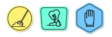 Set line Shovel in the ground, Watering Tree and Garden gloves. Colored shapes. Vector