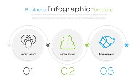Set line Heart with animals footprint, Shit and Veterinary clinic symbol. Business infographic template. Vector