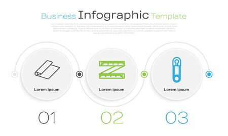 Set line Textile fabric roll, Tape measure and Classic closed steel safety pin. Business infographic template. Vector