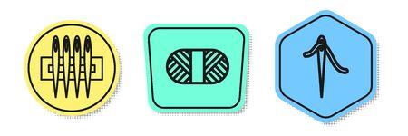 Définir la ligne Aiguille à coudre, Fil à coudre sur bobine et Aiguille à coudre avec fil. Formes colorées. Vecteur
