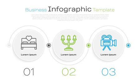 Set line Bedroom, Candlestick and Cinema camera. Business infographic template. Vector