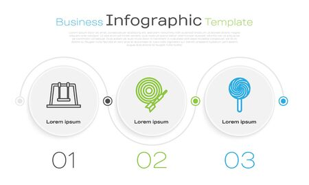 Set line Swing, Classic dart board and arrow and Lollipop. Business infographic template. Vector