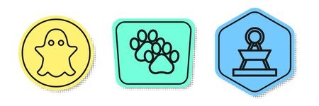 Set line Ghost, Paw print and Attraction carousel. Colored shapes. Vector