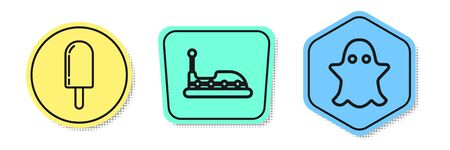 Set line Ice cream, Bumper car and Ghost. Colored shapes. Vector