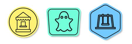 Set line Ticket box office, Ghost and Swing. Colored shapes. Vector