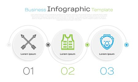 Set line Crossed arrows, Hunting jacket and Bear head on shield. Business infographic template. Vector Illustration