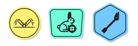 Set line Trap hunting, Hunt on rabbit with crosshairs and Flame arrow. Colored shapes. Vector