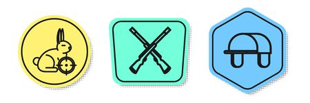 Set line Hunt on rabbit with crosshairs, Two crossed shotguns and Hunter hat. Colored shapes. Vector Vettoriali