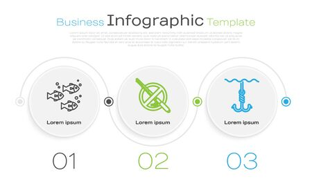 Set line Fish, No fishing and Fishing hook under water. Business infographic template. Vector